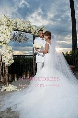 Mermaid Tulle Elegant Appliques Off-the-Shoulder Long-Sleeves Wedding Dress BA4387_4