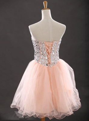 Crystal Sweetheart Pink Mini Homecoming Dress with Rhinestones Latest Organza Lace-Up Short Cocktail Dress_2