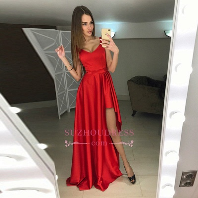 Modern A-line Scoop Hi-Lo Red Sleeveless Prom Dress_1