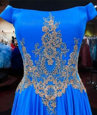 Royal Blue Off-the-Shoulder A-line Prom Dresses  Appliques Lace-Up Evening Gowns with Beadings_3