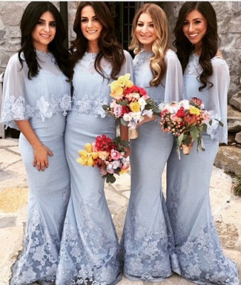 Special Mwemaid Lace Bridesmaid Dresses with Applique Satin Shawl Floor Length Wedding Dress BA7255_1
