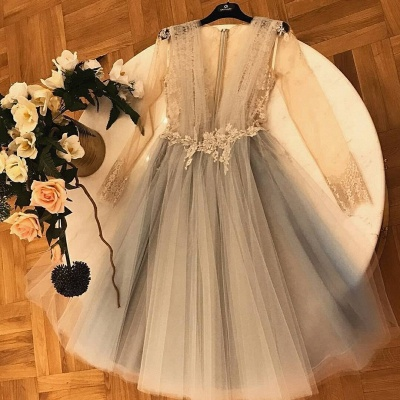 Chic Flattering Soft Tulle Homecoming Dresses   Trendy V-neck Long Sleeves Lace Applique Cocktail Dresses   Suzhoudress UK_3