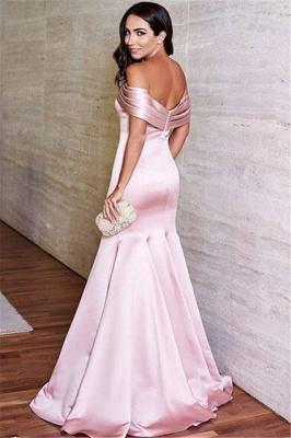 Off The Shoulder Mermaid Pink Formal Evening Dresses  Elegant Satin Prom Dress_3