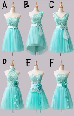 Cute Tulle Lace Short Bridesmaid Dresses with Bowknot or Flower  Latest Diverse Custom Made Mini Homecoming Dress BA7825_1