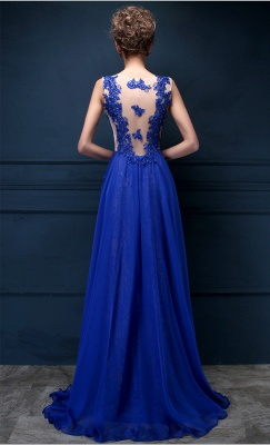 Royal Blue Lace Chiffon Popular  Prom Dresses Appliques Elegant  Long Evening Dresses CJ0154_3