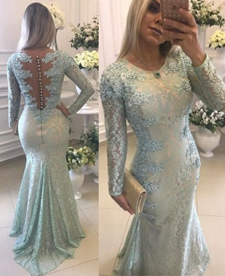 Elegant Lace Long Sleeves Prom Dresses Mermaid Buttons Evening Gowns BA8039_1