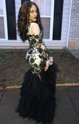 Long Sleeve Beads Black Lace Prom Dress  | Sheath Ruffles Tulle Sexy Evening Gown_4