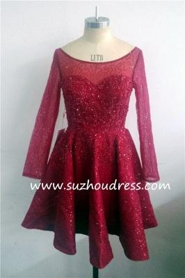 Long Sleeve Sparkly Sequins Bateau Evening Dresses  Short Party Gowns BA1772_5