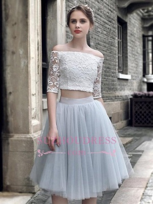 Tulle Lace Off The Shoulder Knee-Length Sexy Homecoming Dress_3
