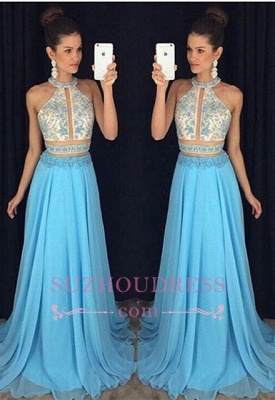 High Neck Sweep Train Chiffon Blue Prom Dress  Halter Newest Sleeveless Sexy Evening Dress_3