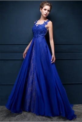 Royal Blue Lace Chiffon Popular  Prom Dresses Appliques Elegant  Long Evening Dresses CJ0154_1