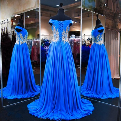Royal Blue Off-the-Shoulder A-line Prom Dresses  Appliques Lace-Up Evening Gowns with Beadings_4