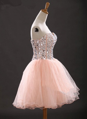 Crystal Sweetheart Pink Mini Homecoming Dress with Rhinestones Latest Organza Lace-Up Short Cocktail Dress_3