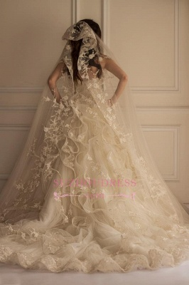 Off-the-shoulder Lace Appliques Beautiful Tulle Wedding Dress_1