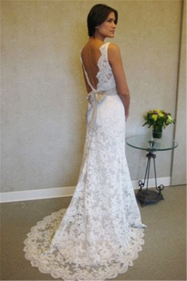 Formal White Lace Sweep Train Bridal Gown Simple Popular Custom Made Plus Size Wedding Dress BA3872_2