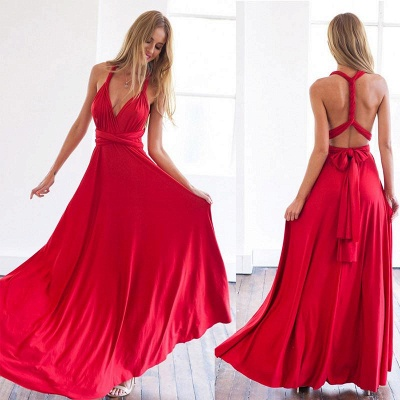 Deep V-neck Party Dresses  Chiffon Open Back Evening Dress_3