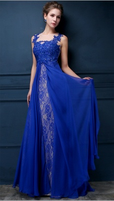 Royal Blue Lace Chiffon Popular  Prom Dresses Appliques Elegant  Long Evening Dresses CJ0154_2