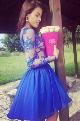 Royal Blue Short Long Sleeves Homecoming Dresses  | A-line V-Neck Lace Party Dresses_4