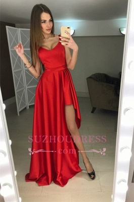Modern A-line Scoop Hi-Lo Red Sleeveless Prom Dress_2