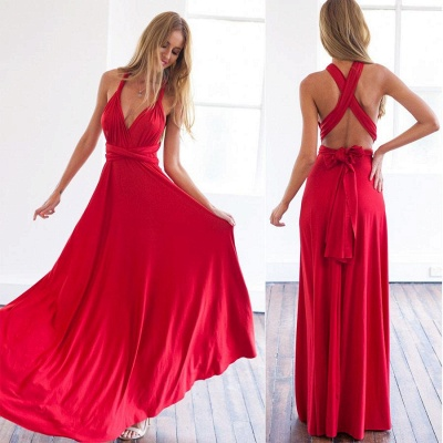 Deep V-neck Party Dresses  Chiffon Open Back Evening Dress_5