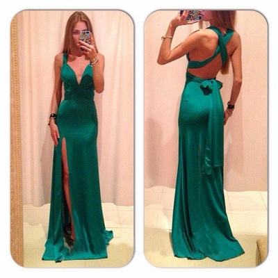 Jade V-Neck Gorgeous Prom Gowns  Criss-Cross Side Slit Evening Dresses with Bowknot_2