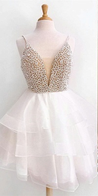 Sexy Short Spaghetti Straps Homecoming Dresses  | Tulle Sleeveless A-line Hoco Dress_3