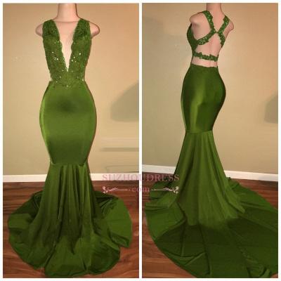 Elegant Mermaid Beaded Lace V-Neck Applique Sleeveless Prom Dresses BA7993_1