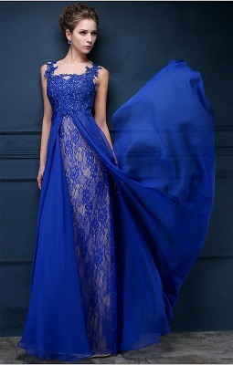 Royal Blue Lace Chiffon Popular  Prom Dresses Appliques Elegant  Long Evening Dresses CJ0154_5