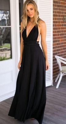 Deep V-neck Party Dresses  Chiffon Open Back Evening Dress_4