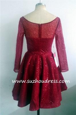 Long Sleeve Sparkly Sequins Bateau Evening Dresses  Short Party Gowns BA1772_6