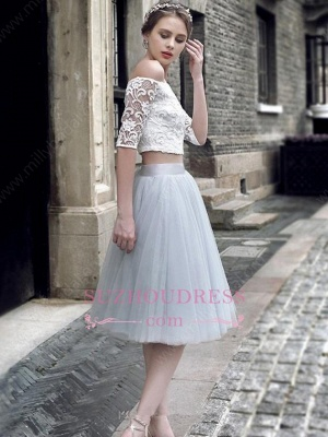 Tulle Lace Off The Shoulder Knee-Length Sexy Homecoming Dress_1
