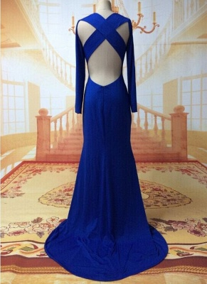 Sexy Prom Dresses Long Sleeve Jewel Elegant Sweep Train Cross Back Blue Satin Evening Gowns_2