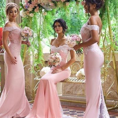 Off-the-Shoulder Blushing-Pink Elegant Long Lace-Appliques Bridesmaid Dresses_3