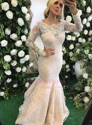 Floor-Length  Stunning Lace Mermaid Appliques Long-Sleeve Evening Dress_3