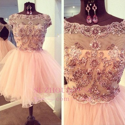 Luxury Bateau-Neck Beaded Capped-Sleeves Puffy Homecoming Dresses_1
