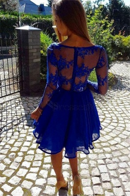 Royal Blue Short Long Sleeves Homecoming Dresses  | A-line V-Neck Lace Party Dresses_3