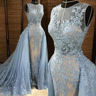 Affordable Jewel Sleleveless Lace Mermaid Prom Dress Appliques Beading Party Dresses with Overskirt_3