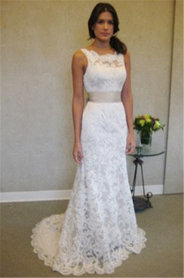 Formal White Lace Sweep Train Bridal Gown Simple Popular Custom Made Plus Size Wedding Dress BA3872_1