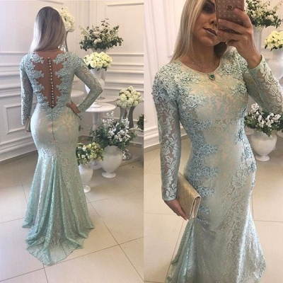 Elegant Lace Long Sleeves Prom Dresses Mermaid Buttons Evening Gowns BA8039_3