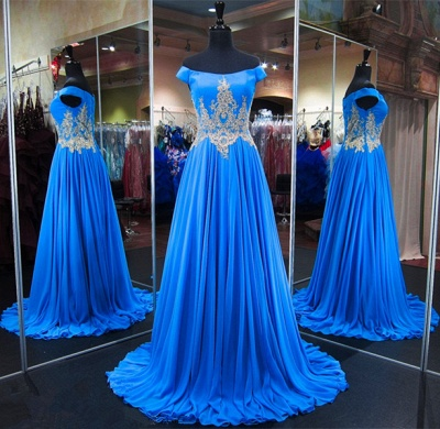 Royal Blue Off-the-Shoulder A-line Prom Dresses  Appliques Lace-Up Evening Gowns with Beadings_5