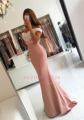 Lace-Appliques Off-the-shoulder Modern Mermaid Long Prom Dress BA4464_2