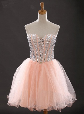 Crystal Sweetheart Pink Mini Homecoming Dress with Rhinestones Latest Organza Lace-Up Short Cocktail Dress_1