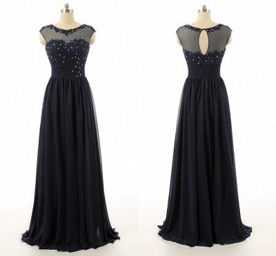Elegant Black Chiffon Long Prom Dress with Beadings A-Line Ruffles Custom Made Dresses for Women_2