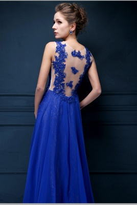 Royal Blue Lace Chiffon Popular  Prom Dresses Appliques Elegant  Long Evening Dresses CJ0154_4