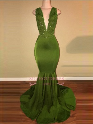 Elegant Mermaid Beaded Lace V-Neck Applique Sleeveless Prom Dresses BA7993_4