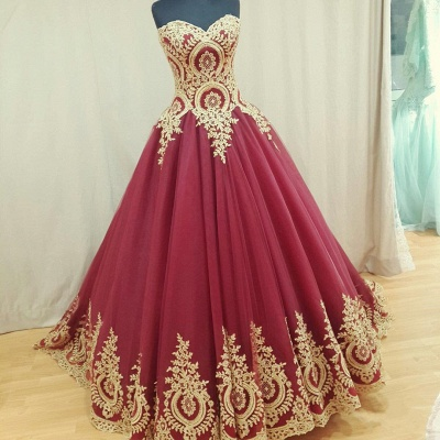 Sweetheart Burgundy Long Evening Dresses Gold Lace Appliques Formal Dresses  BA4661_3