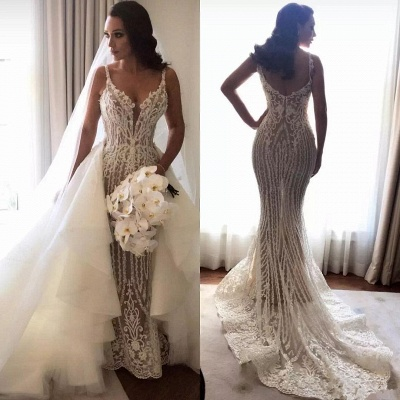 Gorgeous Lace Mermaid Wedding Dresses Cheap with Detachable Train   Straps Sexy Sleeveless Bride Dress_4