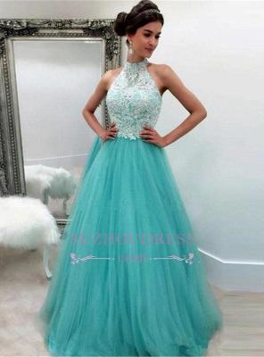 Lace Tulle Sleeveless High-Neck A-line Elegant Evening Dress BA4825_3