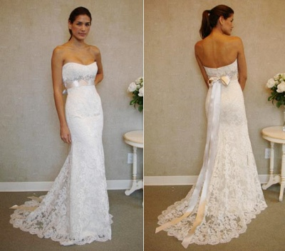 Empire Sexy White Lace Long Wedding Dress Popular Crystal Bowknot Sweep Train Bridal Gowns_3