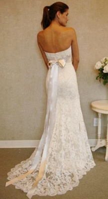 Empire Sexy White Lace Long Wedding Dress Popular Crystal Bowknot Sweep Train Bridal Gowns_2